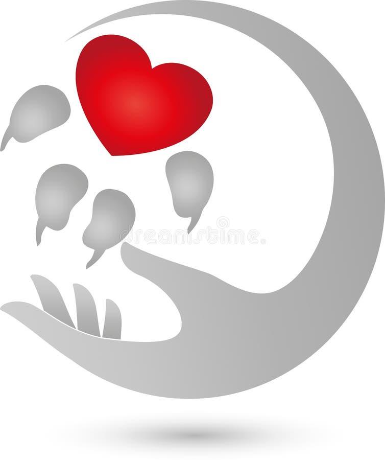 Persiga a pata com coração e mão, coração para o logotipo do cão ilustração royalty free