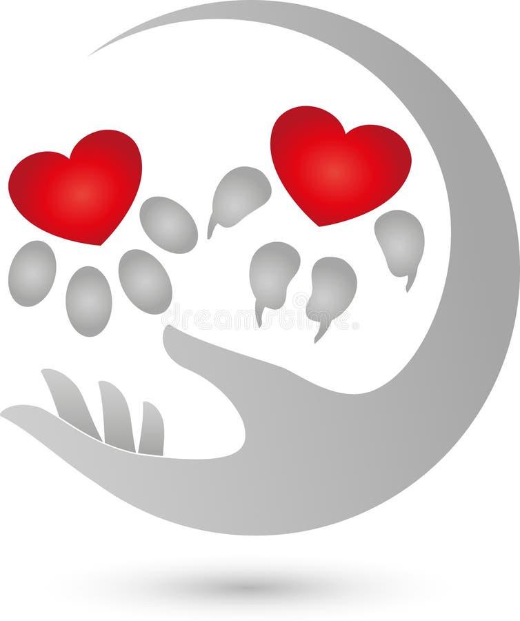Persiga a pata e a pata do gato, coração para o logotipo dos animais ilustração do vetor