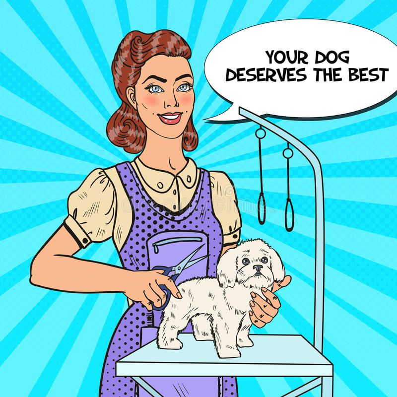 Persiga a preparação PNF Art Woman Groomer com tesouras ilustração stock