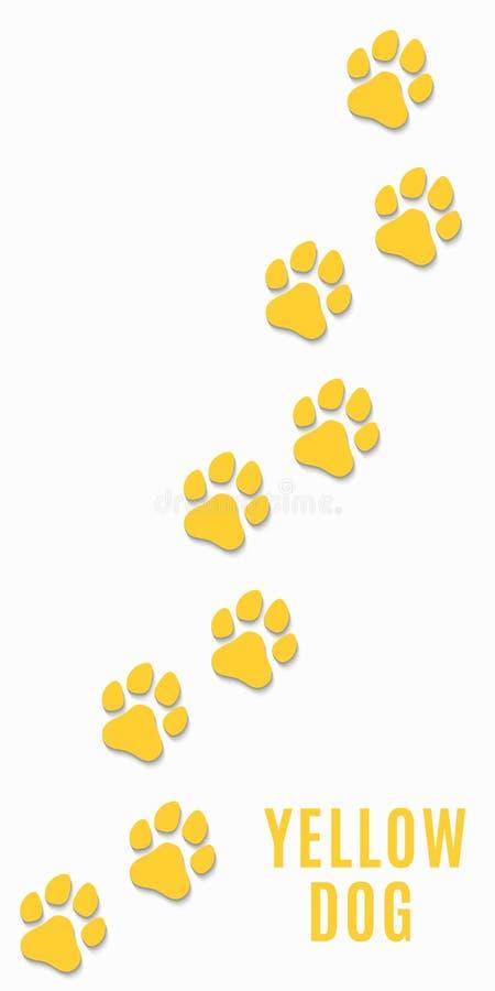 Persiga trilhas da cor amarela no fundo branco Posição vertical Terra amarela ilustração stock