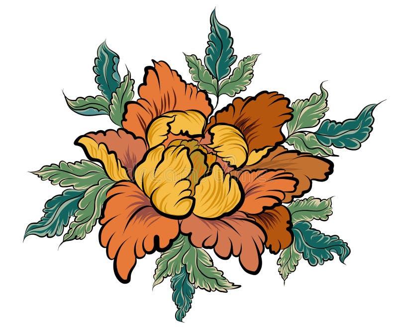 Persikablomma för tatuering Kinesisk blommavektor Hand dragen persikafruktsaft med den körsbärsröda blomningen royaltyfri illustrationer