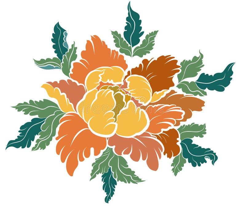 Persikablomma för tatuering Kinesisk blommavektor Hand dragen persikafruktsaft med den körsbärsröda blomningen stock illustrationer