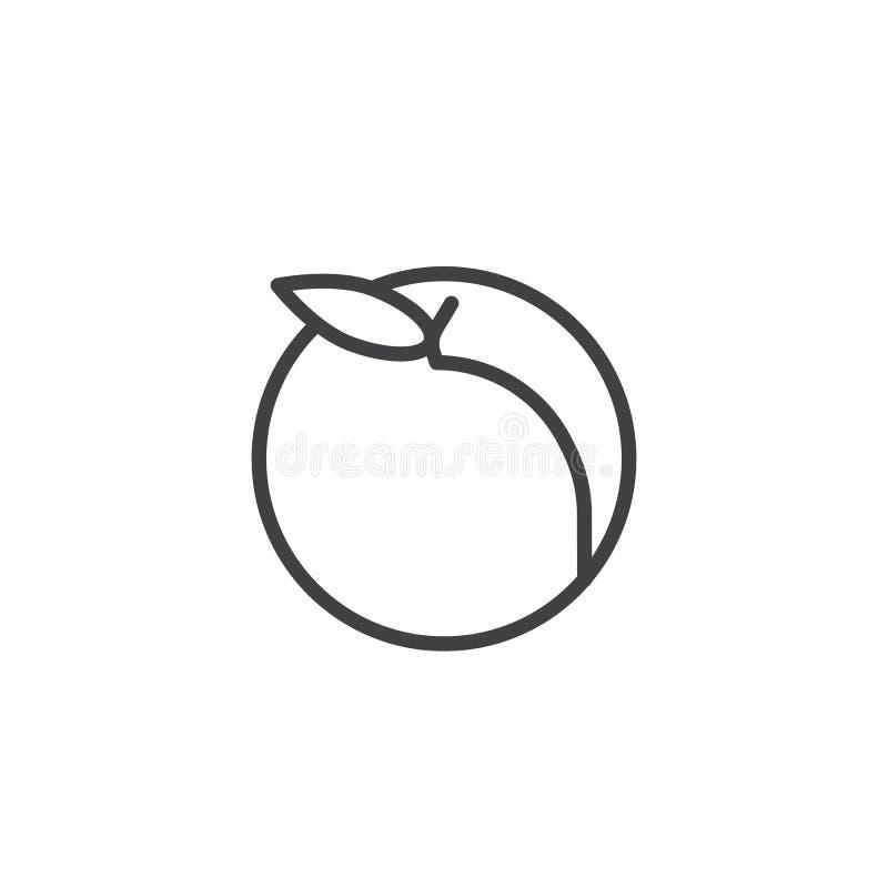 Persikafruktlinje symbol royaltyfri illustrationer
