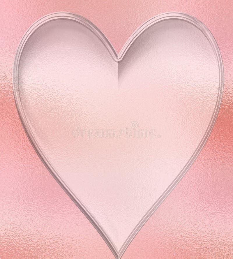 Persikahjärtabakgrund med en glass textur och en glödande ljus effekt royaltyfri illustrationer
