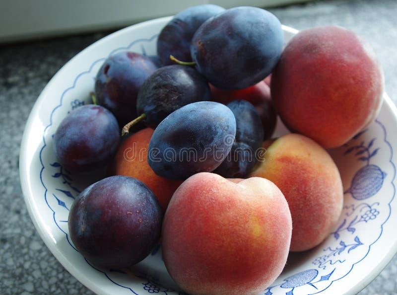 Persikor och plommoner arkivfoton