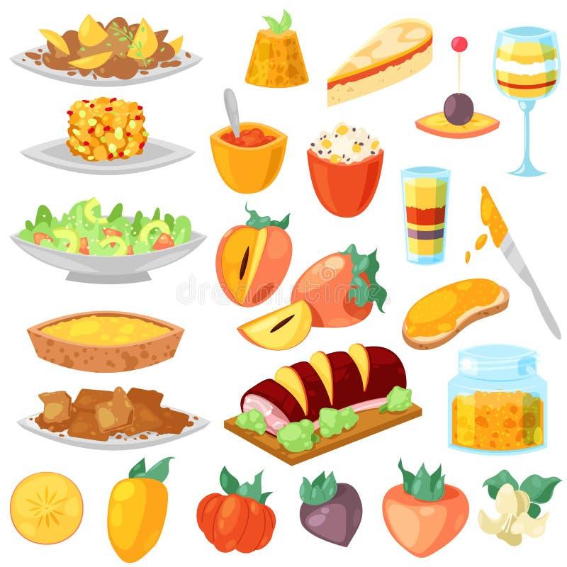 Persimmon διανυσματικό φρέσκο fruity επιδόρπιο τροφίμων και γλυκά φρούτα του συνόλου απεικόνισης persimmon-δέντρων χορτοφάγου δια ελεύθερη απεικόνιση δικαιώματος