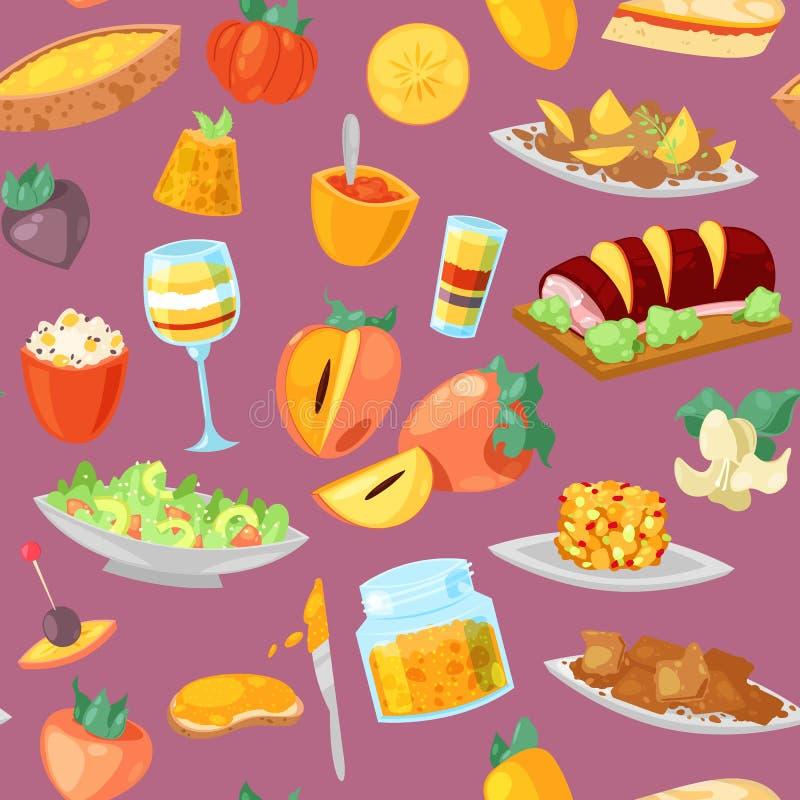 Persimmon διανυσματικό φρέσκο fruity επιδόρπιο τροφίμων και γλυκά φρούτα του συνόλου απεικόνισης persimmon-δέντρων χορτοφάγου δια διανυσματική απεικόνιση