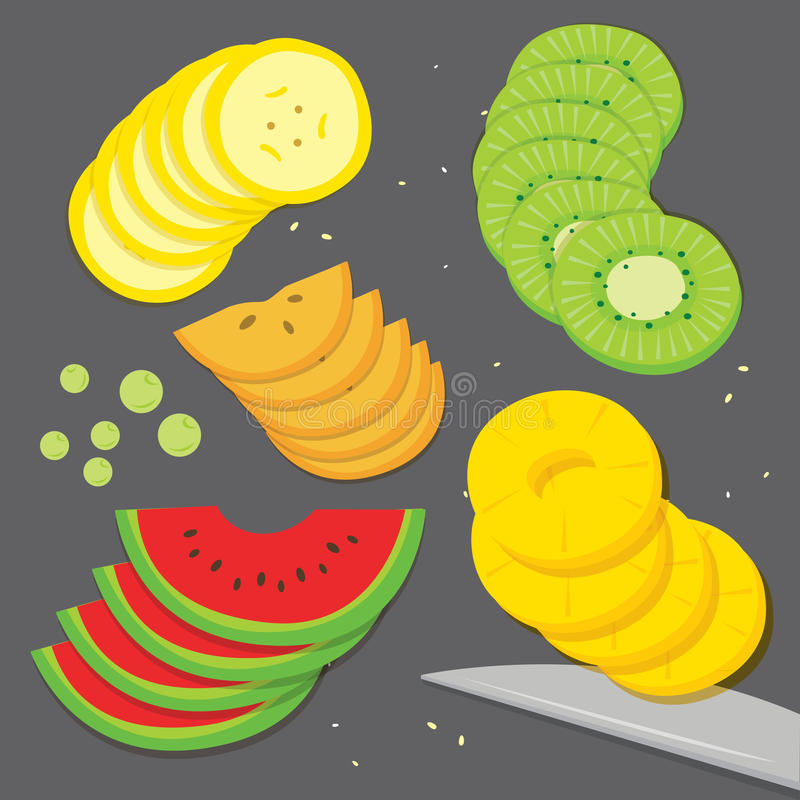 Persimmon καρπουζιών ανανά ακτινίδιων σταφυλιών μπανανών μαγείρων τροφίμων φρούτων φρέσκο διάνυσμα κινούμενων σχεδίων φετών κομμα απεικόνιση αποθεμάτων