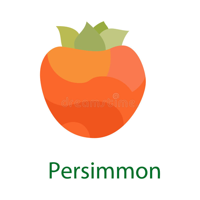 Persimmon fruit logo, sweet food icon isolated on white background. Vector vector illustration