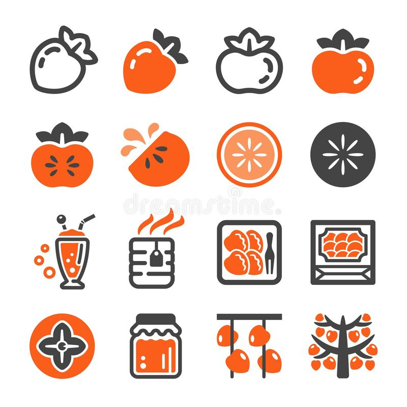 Persimmon icon set vector illustration