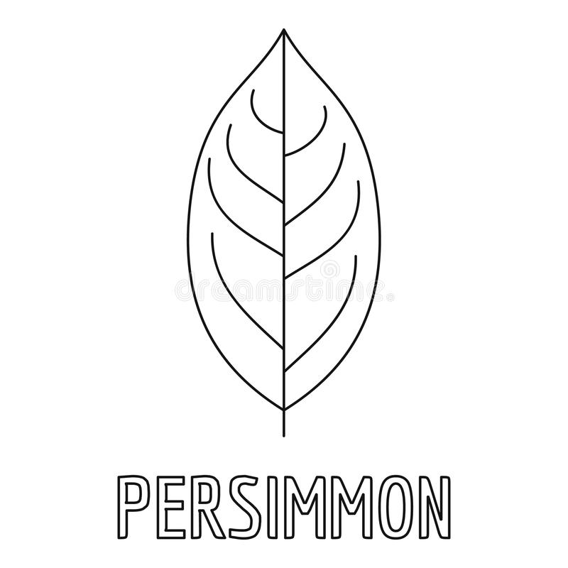 Persimmon leaf icon, outline style. stock illustration