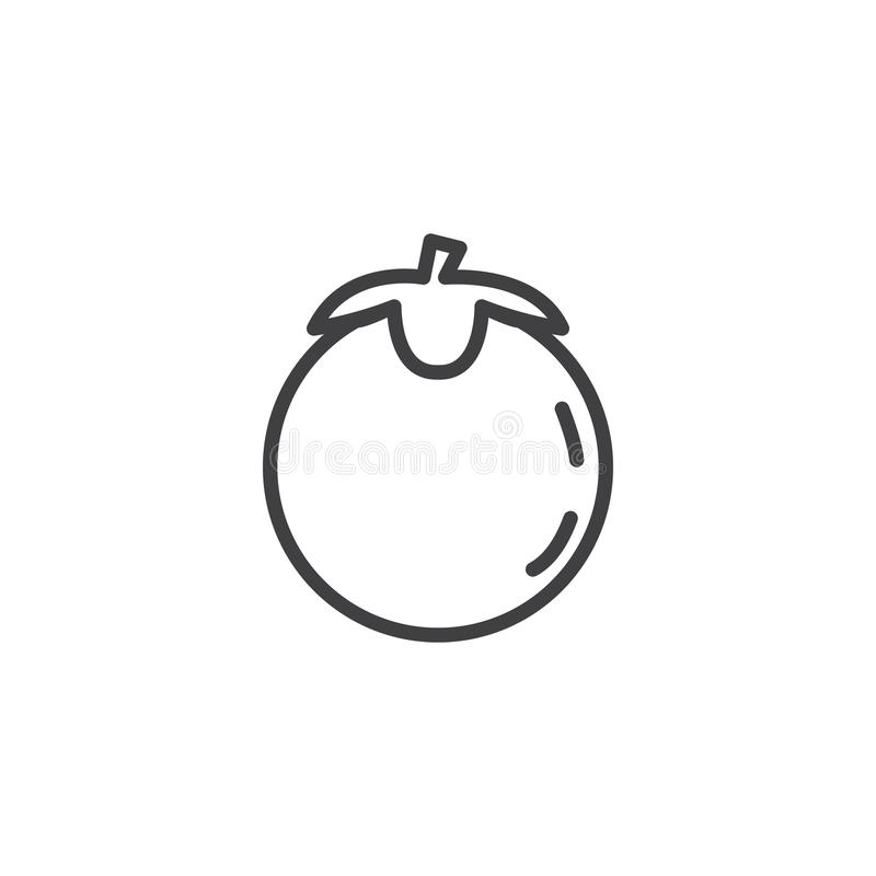 Persimmon with leaves line icon. Linear style sign for mobile concept and web design. Persimmon Japanese Fruit outline vector icon. Symbol, logo illustration vector illustration