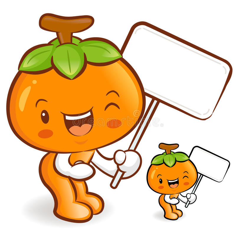 Download The Persimmon Mascot Holding A Big Board. Fruit Character Design Stock Illustration - Image: 30901934