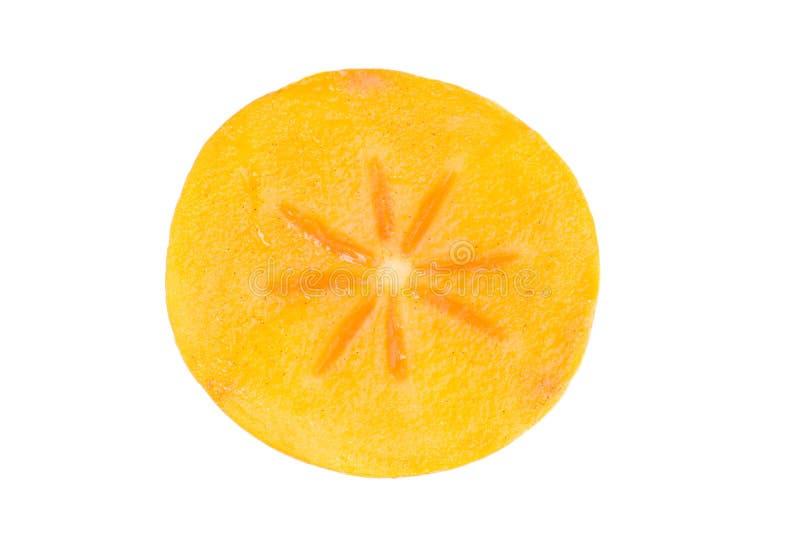 Persimmon owoc plasterek na biel zdjęcia royalty free