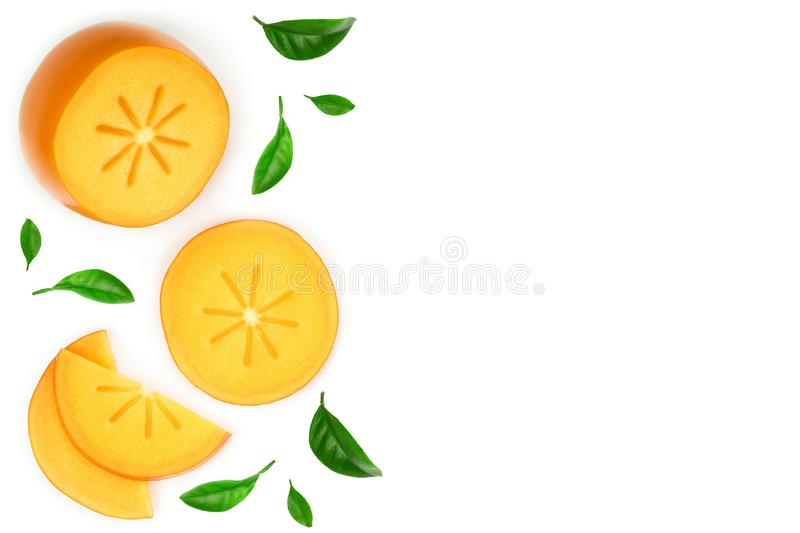 Persimmon slice isolated on white background with copy space for your text. Top view. Flat lay pattern.  vector illustration