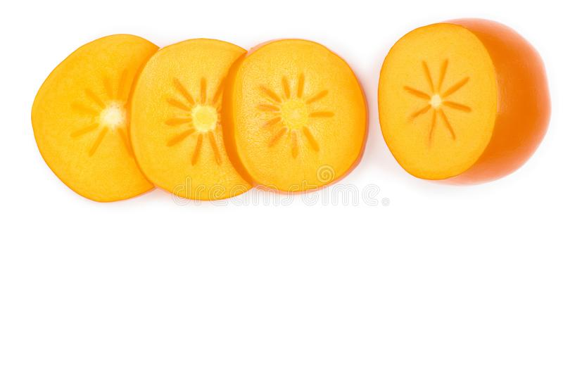 Persimmon slice isolated on white background with copy space for your text. Top view. Flat lay pattern.  stock illustration