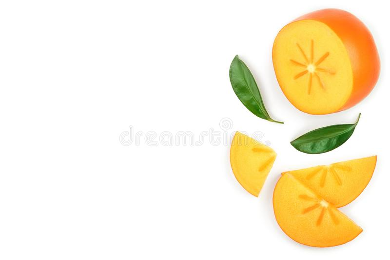 Persimmon slice with leaves isolated on white background with copy space for your text. Top view. Flat lay pattern stock illustration