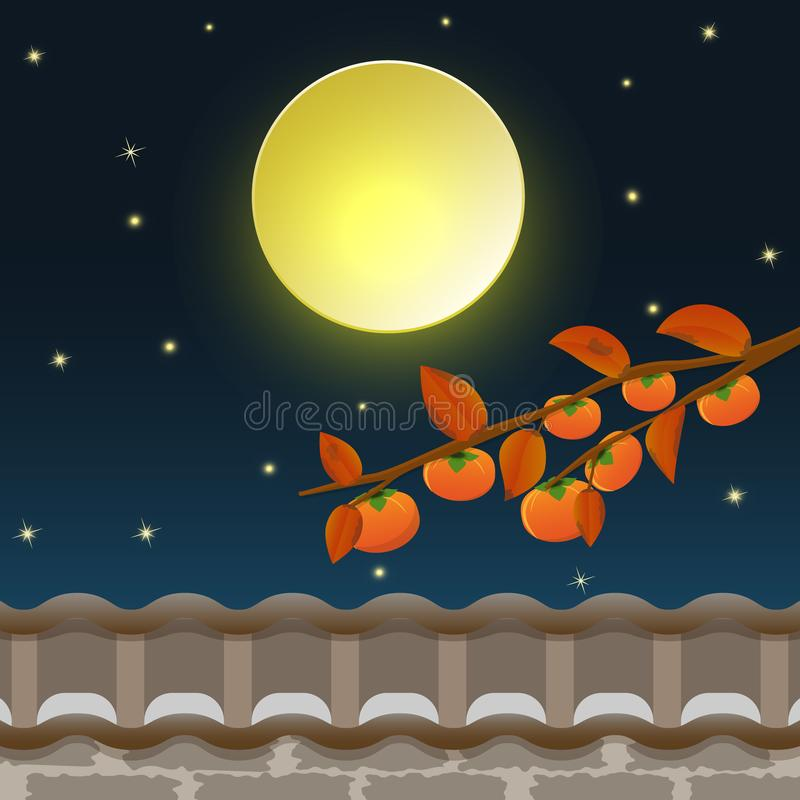 Persimmon tree with full moon on night sky of Mid Autumn. Moon Festival, Chuseok Festival Korean Thanksgiving illustration background vector illustration