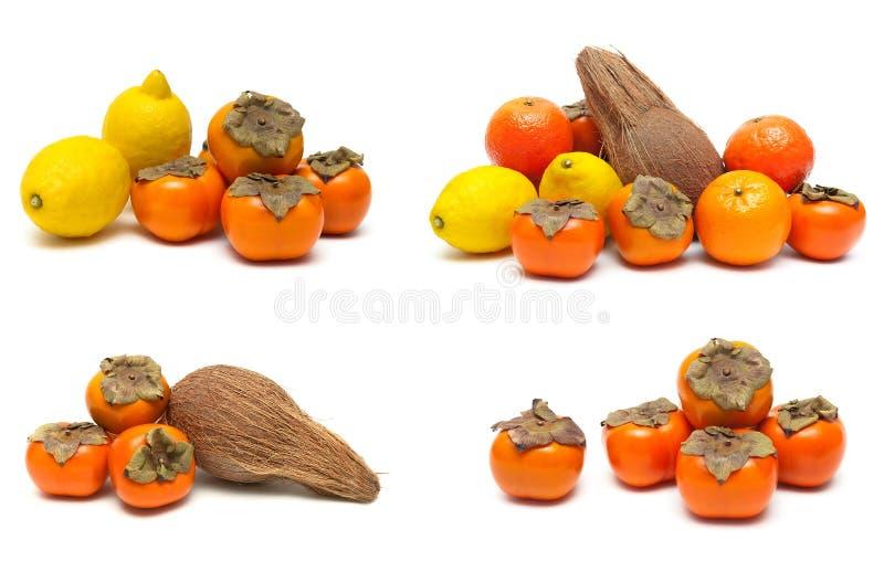 Persimon, citron, apelsin och kokosnöt på en vit bakgrund royaltyfri fotografi