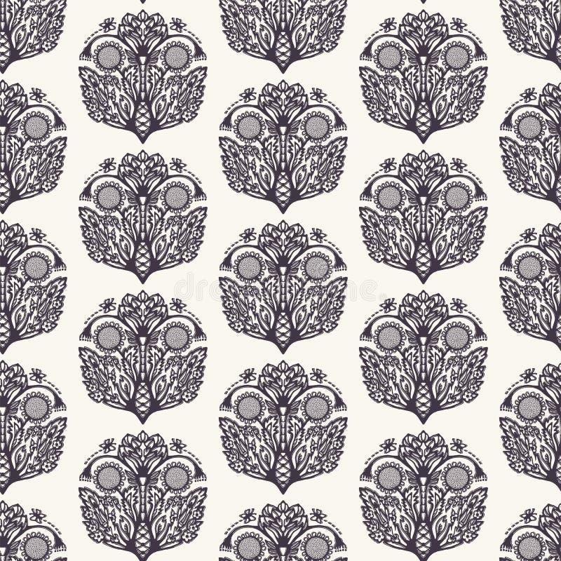 Persische Art Blumenblatt-Paisley-Motivs Vector nahtloses Muster Arabeske boteh Foulard-Textilmuster Klassisches Damasthaus stock abbildung