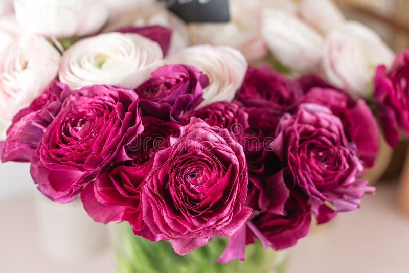 Persische Butterblume Bündeln Sie buntes und blasses - heller Hintergrund der rosa Ranunculusblumen Glasvase auf der rosa Weinles stockfotografie