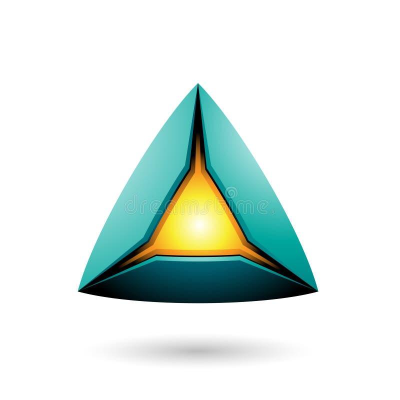 Persische grüne Pyramide mit einer glühenden Kern-Vektor-Illustration vektor abbildung
