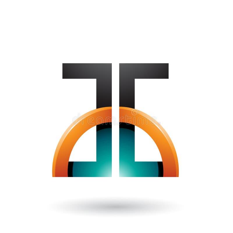 Persische grüne und orange Buchstaben A und G mit einem glatten Halbkreis lokalisiert auf einem weißen Hintergrund stock abbildung
