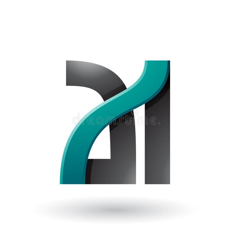 Persische grüne und schwarze mutige Doppelbuchstaben A und ich lokalisierten auf einem weißen Hintergrund vektor abbildung