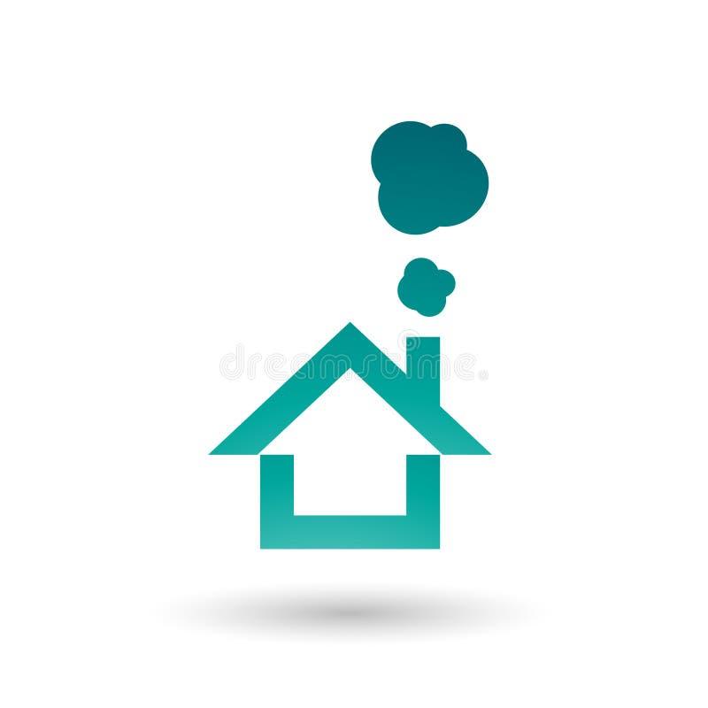 Persische grünes Haus-und Rauch-Ikonen-Vektor-Illustration stock abbildung