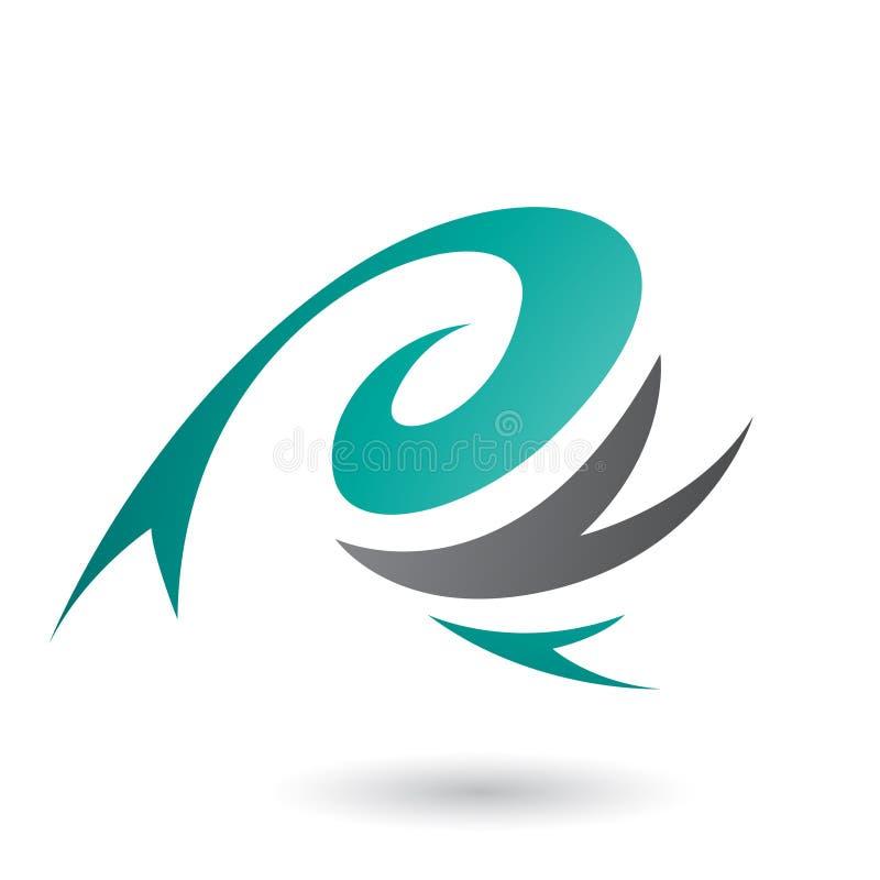 Persischer grüner abstrakter Wind-und Twister-Form-Vektor Illustratio lizenzfreie abbildung