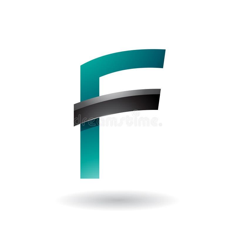 Persischer grüner Buchstabe F mit dem schwarzen glatten Stock lokalisiert auf einem weißen Hintergrund vektor abbildung
