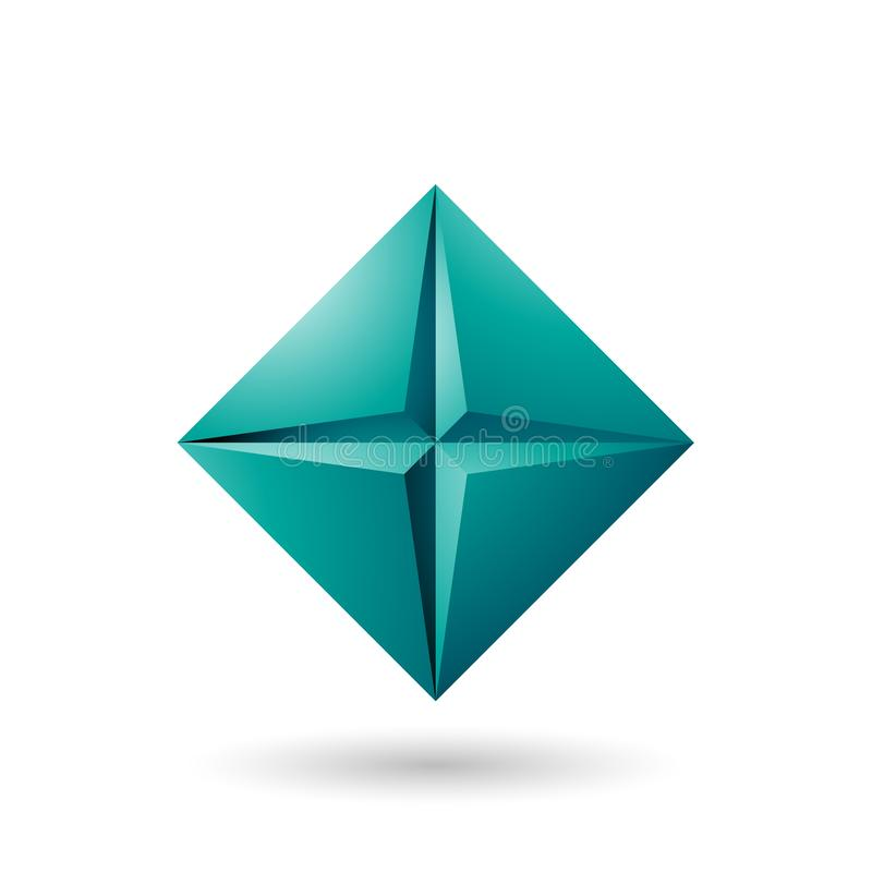 Persischer grüner Diamond Icon mit einer Stern-Form-Vektor-Illustration vektor abbildung