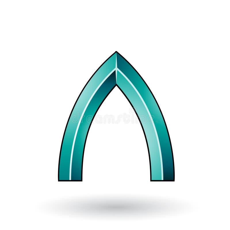 Persischer grüner glatter prägeartiger Buchstabe A mit einem dunklen Anschlag lokalisiert auf einem weißen Hintergrund vektor abbildung