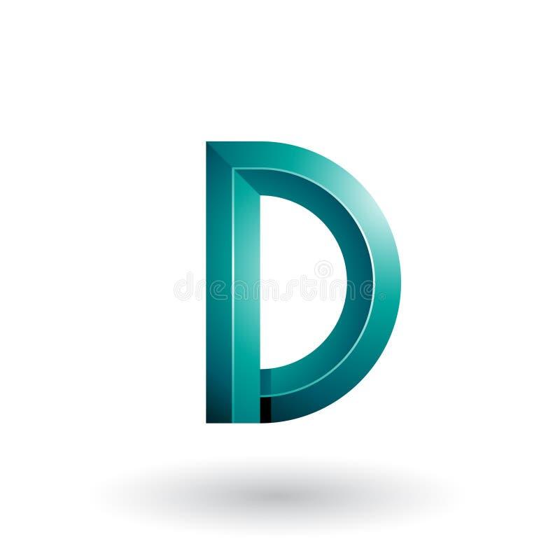 Persischer grüner glatter und mutiger 3d geometrischer Buchstabe D lokalisiert auf einem weißen Hintergrund stock abbildung