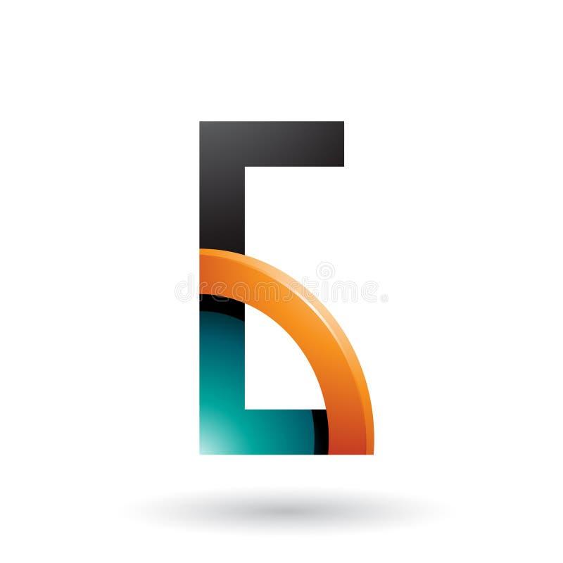 Persischer grüner und orange Buchstabe G mit einem glatten Viertelkreis lokalisiert auf einem weißen Hintergrund vektor abbildung