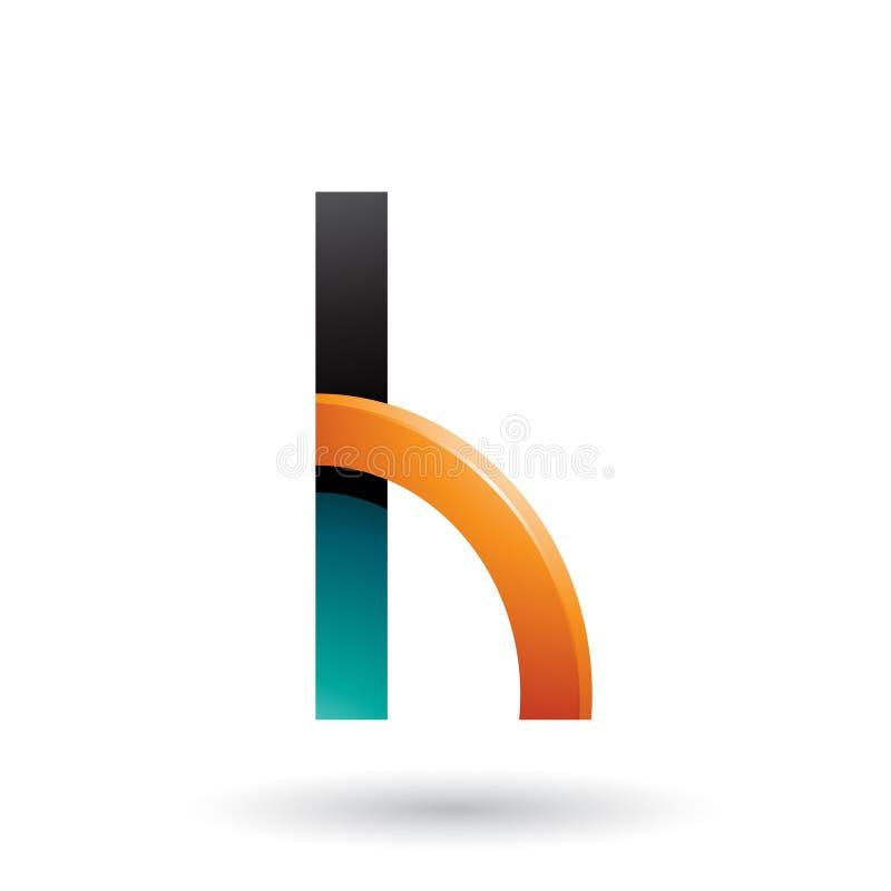 Persischer grüner und orange Buchstabe H mit einem glatten Viertelkreis lokalisiert auf einem weißen Hintergrund lizenzfreie abbildung