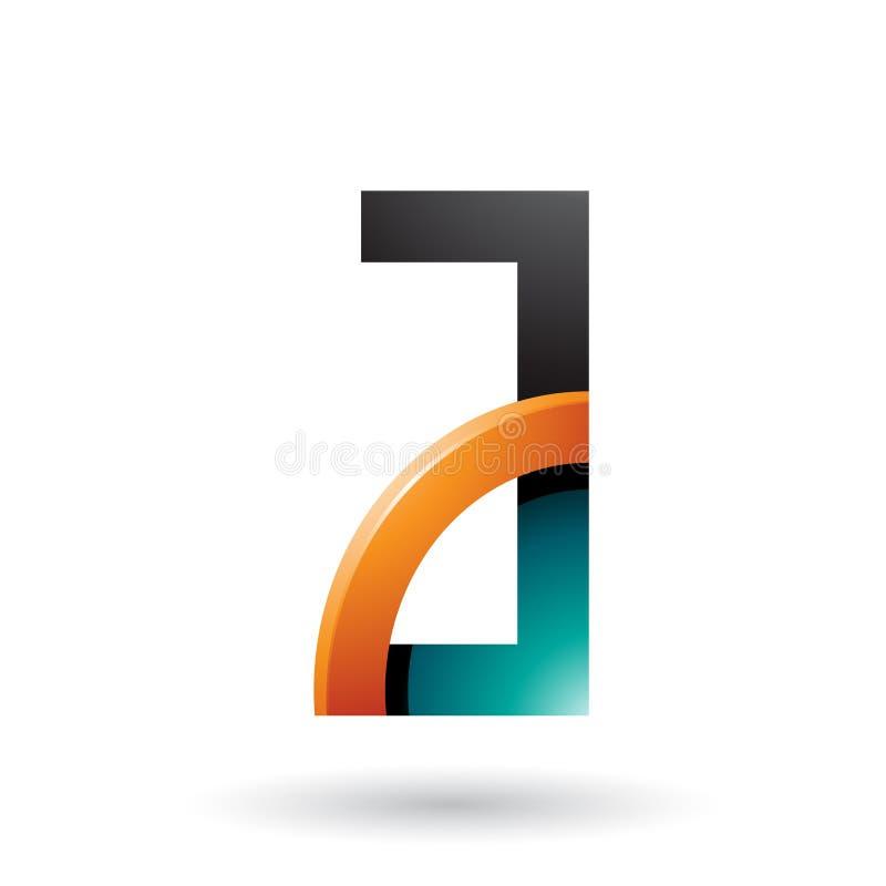 Persischer grüner und orange Buchstabe A mit einem glatten Viertelkreis lokalisiert auf einem weißen Hintergrund lizenzfreie abbildung