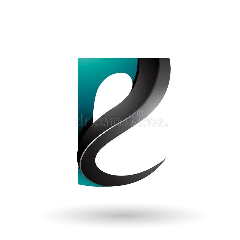 Persischer grüner und schwarzer glatter Curvy prägeartiger Buchstabe E lokalisiert auf einem weißen Hintergrund lizenzfreie abbildung