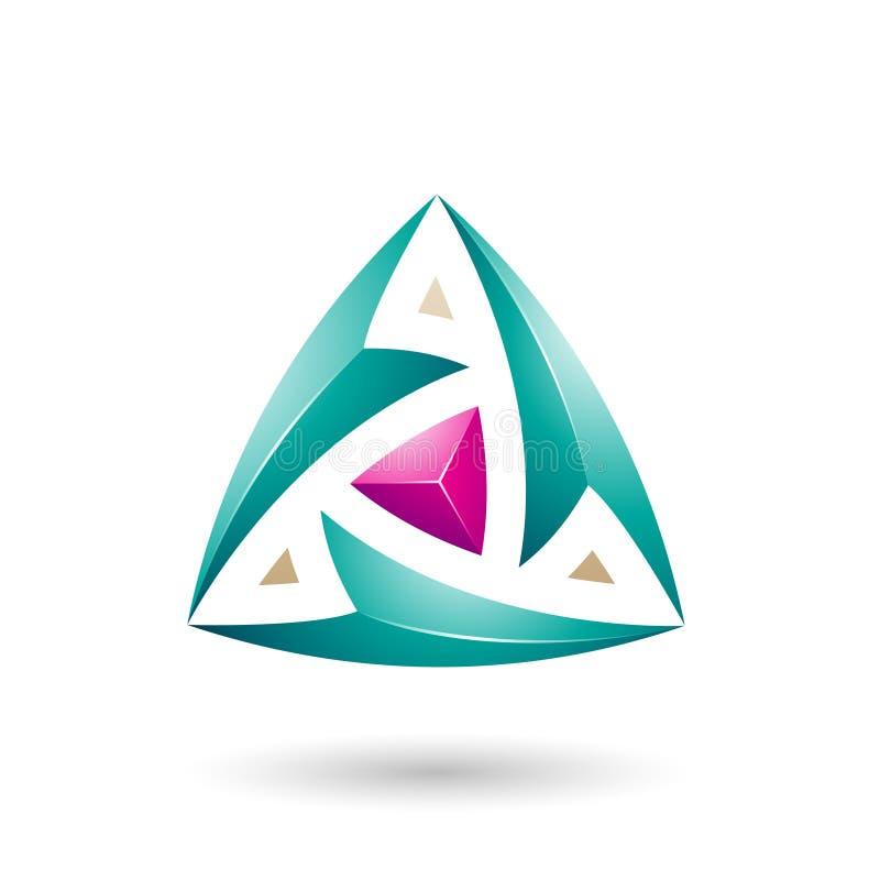 Persisches grünes Dreieck mit Pfeil-Vektor-Illustration vektor abbildung