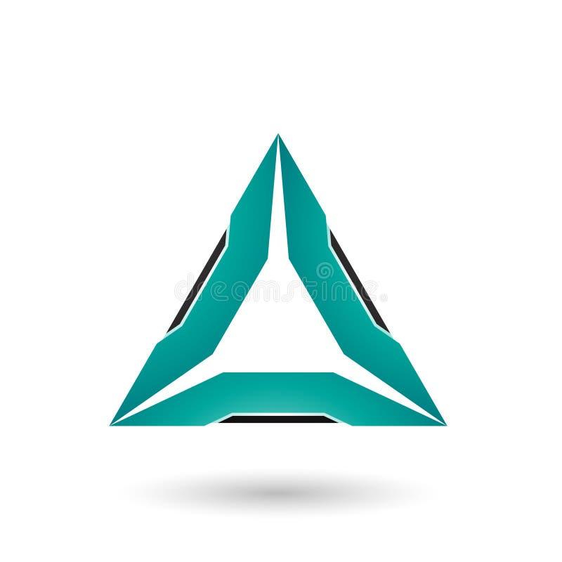 Persisches grünes Dreieck mit schwarzer Rand-Vektor-Illustration lizenzfreie abbildung