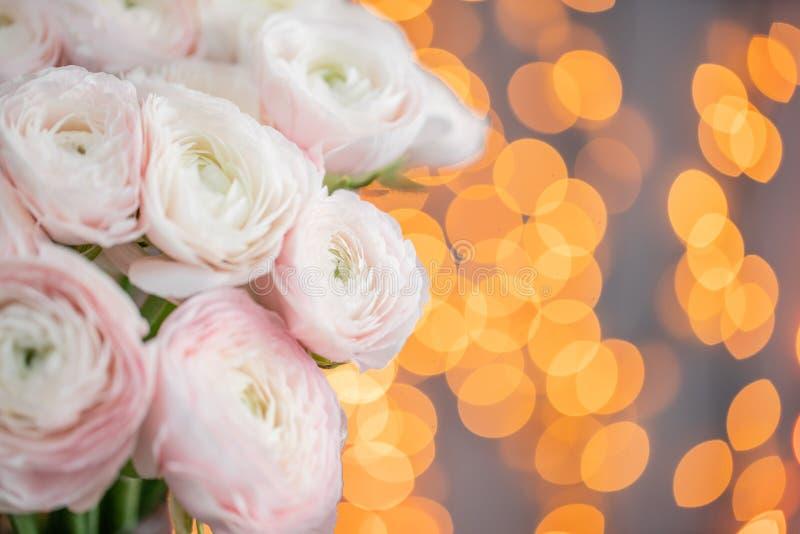 Persisk buttercup Blek grupp - rosa ranunculusblommor i exponeringsglasvas Girlandbokeh på bakgrund Horisontaltapet royaltyfri foto
