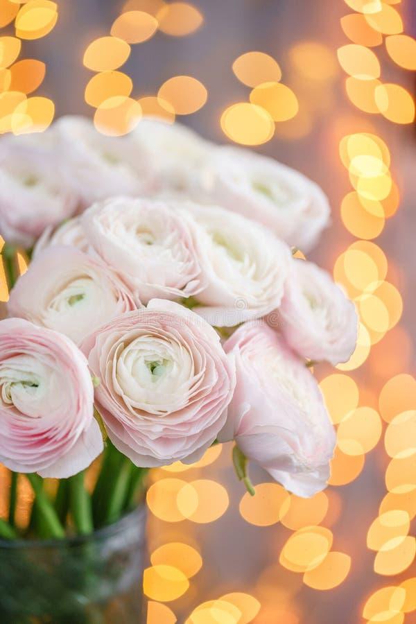 Persisk buttercup Blek grupp - rosa ranunculusblommor i exponeringsglasvas Girlandbokeh på bakgrund Vertikal tapet royaltyfria foton