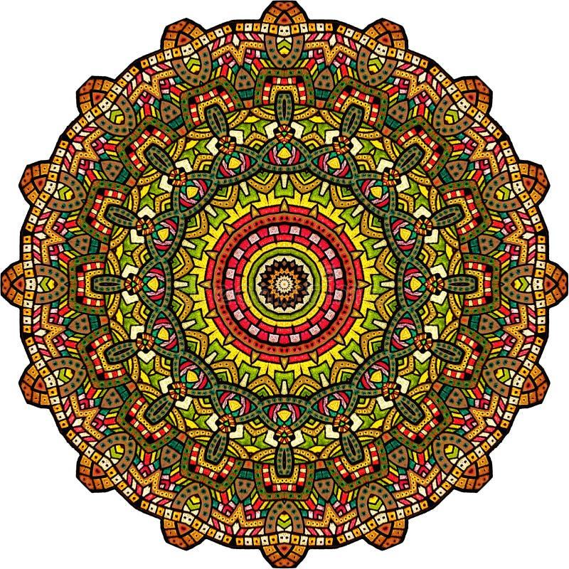 Persisk kalejdoskopisk Mandala digital röd twirl för abstactkonst djupt royaltyfria foton