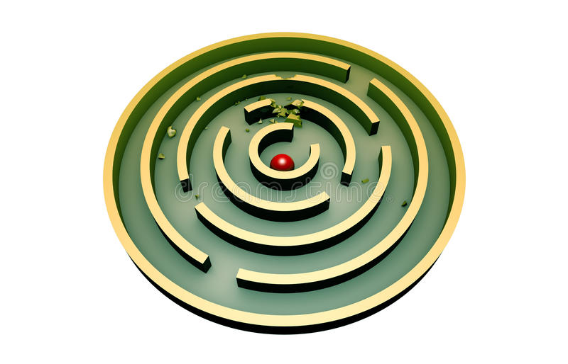 Persistence (round maze). The red ball in the middle of a round turquoise maze. 3d image (isolated white background royalty free illustration