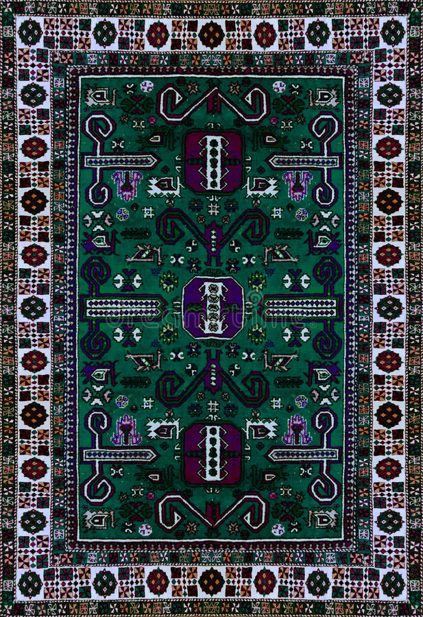 Perskiego dywanu tekstura, abstrakcjonistyczny ornament Round mandala wzór, Wschodnia Tradycyjna dywan powierzchnia Turkus zielon obraz royalty free