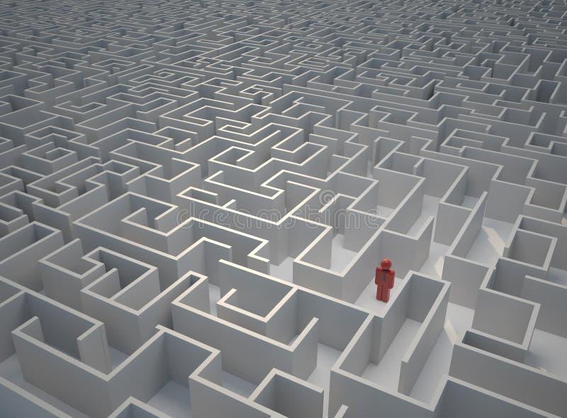Perso in labirinto illustrazione vettoriale