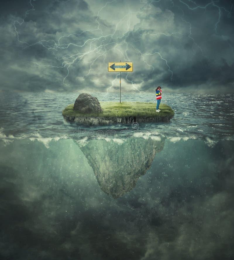 Perso nell'oceano fotografia stock libera da diritti