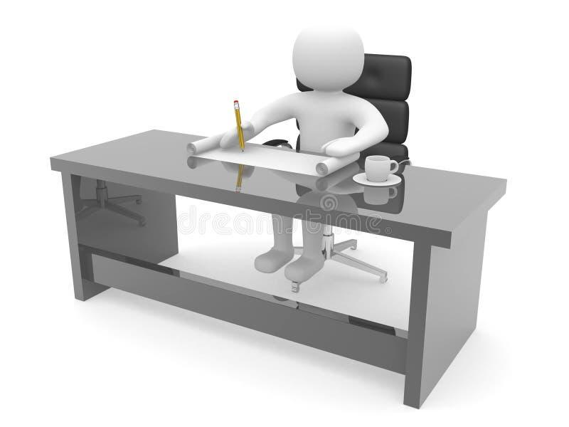 Person 3d, die an einem Plan und einem Tasse Kaffee arbeitet lizenzfreie abbildung