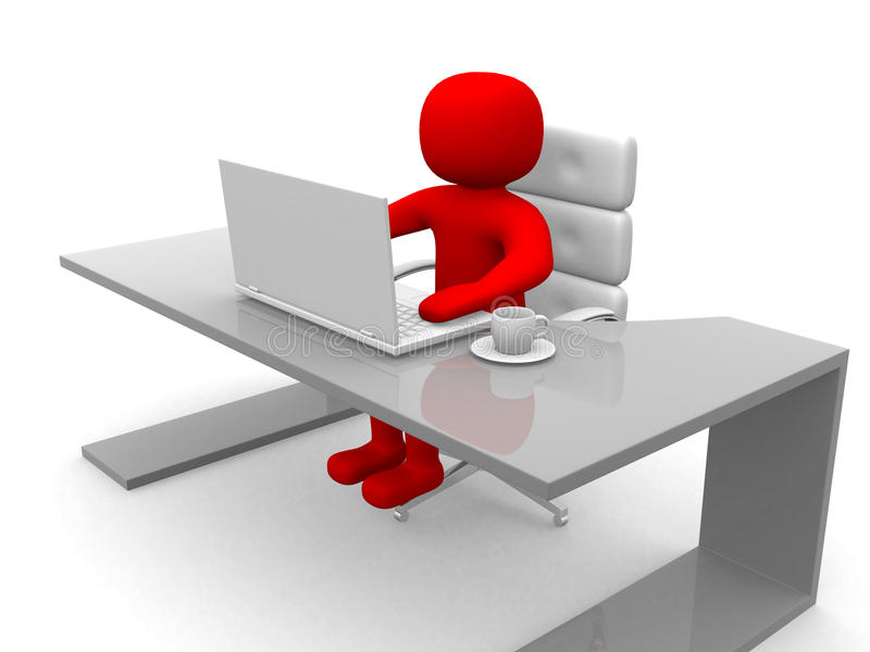 person 3d. Folk till ett kontor och en bärbar dator stock illustrationer