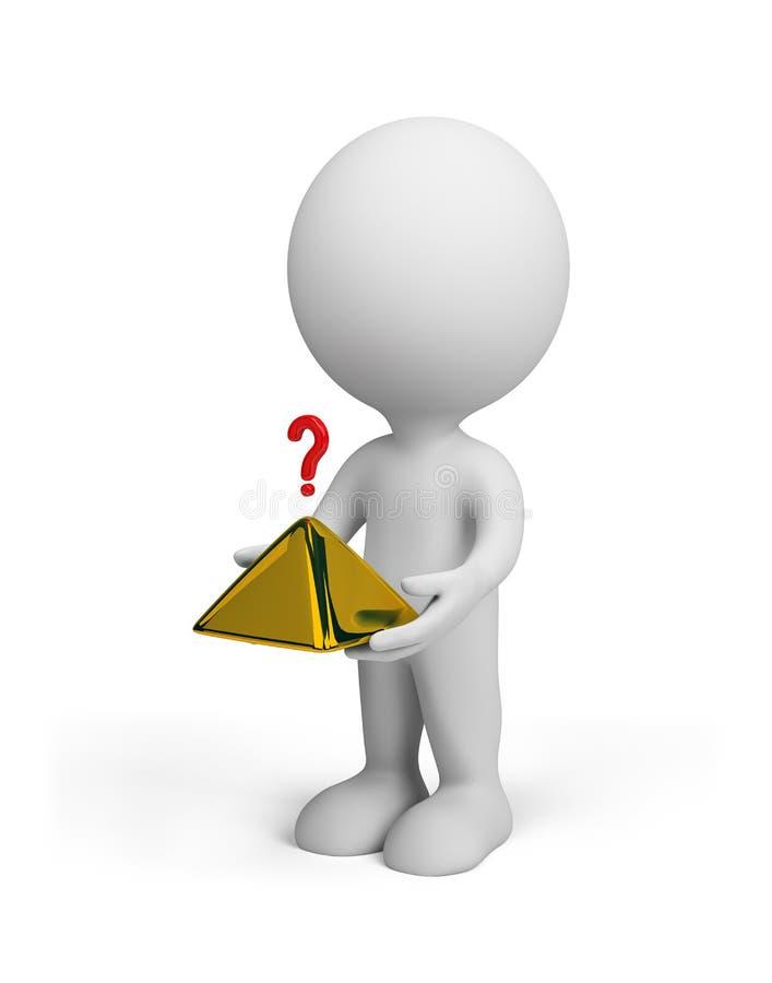 person 3d med en pyramid stock illustrationer